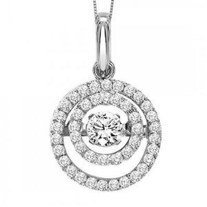 2.70 Carats Circle Style Pendant Necklace  Diamond